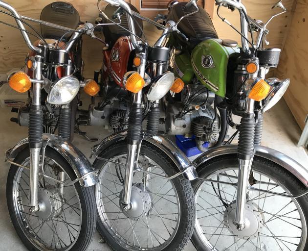 A selection of scooters belonging to Mr van Klink. PHOTO: MARJORIE COOK