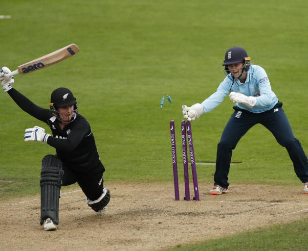 New Zealand's Brooke Halliday is stumped by England's Amy Jones off the bowling of Charlotte Dean. Photo: Action Images via Reuters