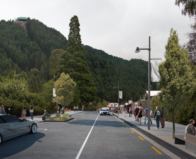 An artist's impression shows what Queenstown's Brecon St will look like in the future, minus five...