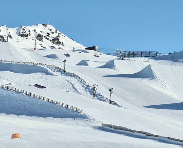 Cardrona's terrain park ready for the day. Photo: Cardrona Alpine Resorts