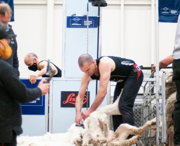Invercargill shearer Nathan Stratford on his way to securing the open shearing title.