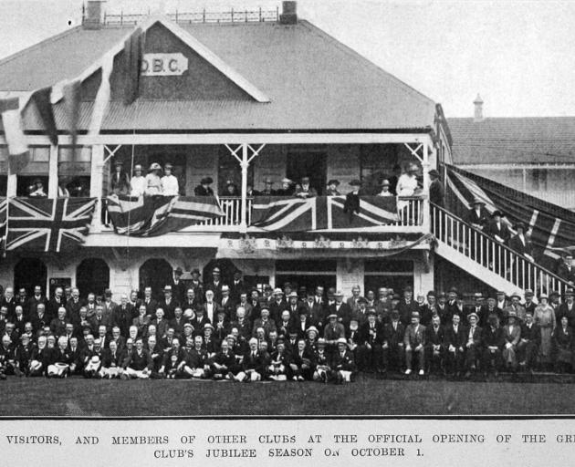 Official opening of the Dunedin Bowling Club's jubilee season on October 1, 1921. Otago Witness, ...