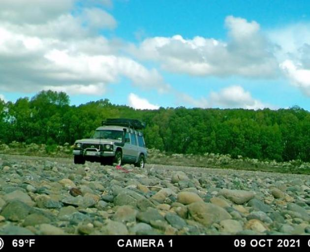 One of 4WD vehicles which allegedly endangered rare wrybrills and dotterels on the Ashley River....