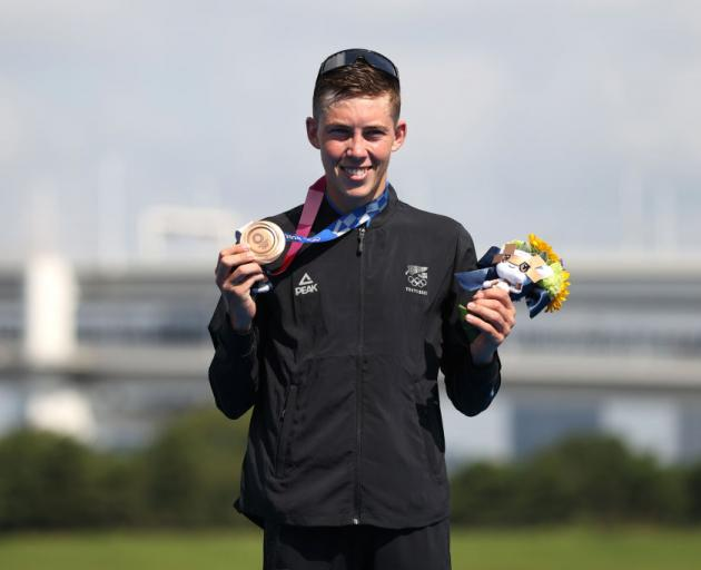 Hayden Wilde after winning the bronze medal for the Men's Individual Triathlon on day three of the Tokyo 2020 Olympic Games. Photo: Getty Images