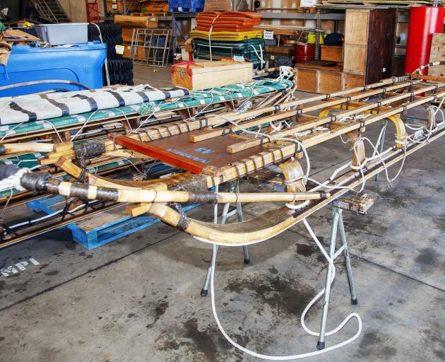 The repaired Antarctic sledges are all set to go. Photo: Geoff Sloan