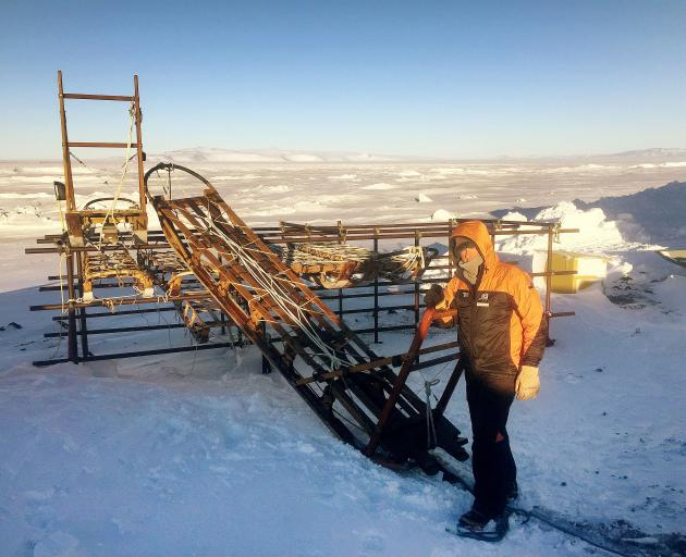 Doug Henderson in Antarctica with one of the sledges. Photo: Supplied