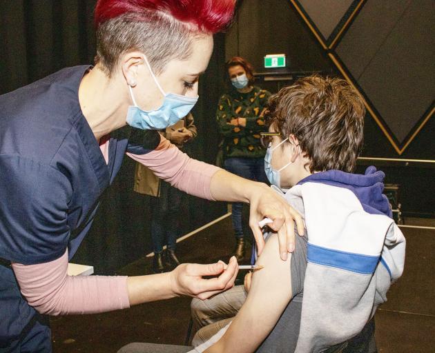 Rene van Eck gave a vaccine jab to Ruben Johnson. Photo: Geoff Sloan