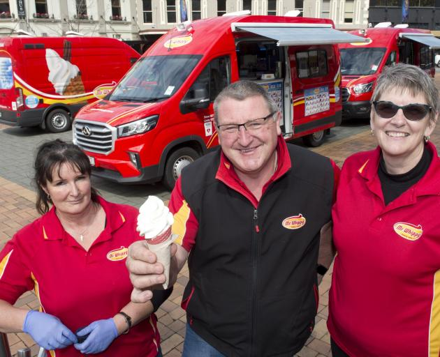 Mr Whippy Dunedin manager Carmen Copland (left) with Steve and Linda Mitchell in the Octagon on...
