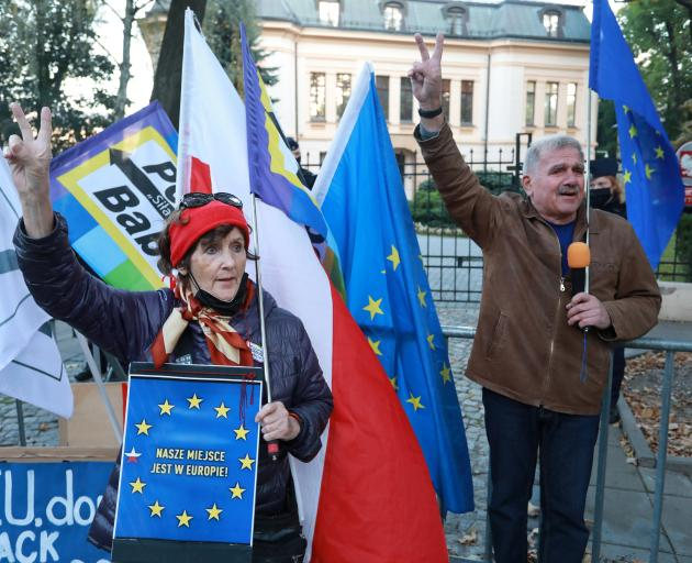 A demonstration took place outside the Constitutional Tribunal building on Thursday.  Photo:...
