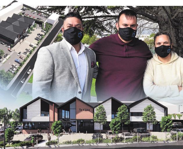 Te Kaika principal iwi adviser Matt Matahaere (left), chief executive Albie Laurence and co...