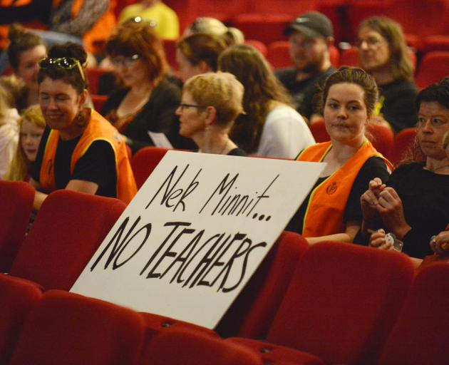 Teachers gathered at the Regent Theatre this morning. Photo: Gerard O'Brien