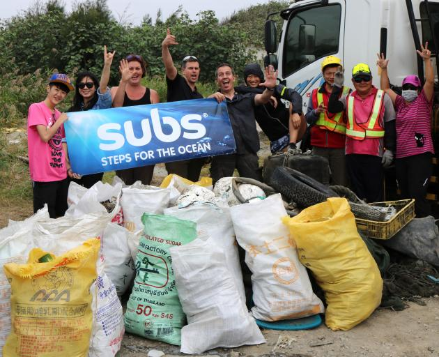 A beach clean-up organised by Subs.