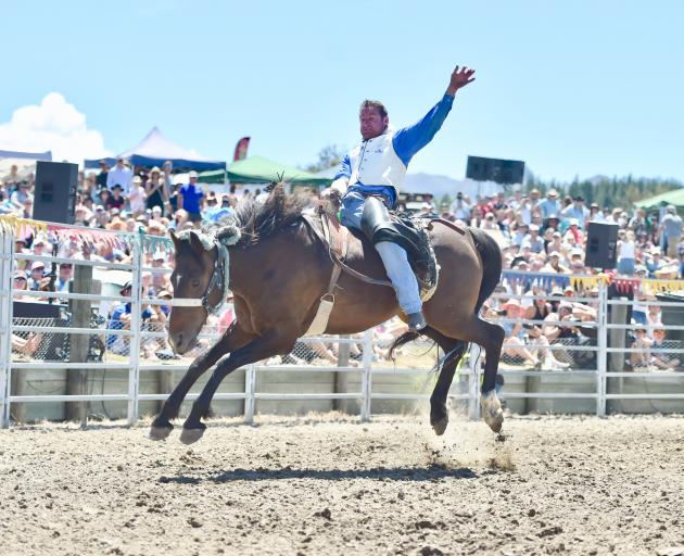Ross Dowling rides out the final few seconds to beat the buzzer at the Wanaka Rodeo in January. ...