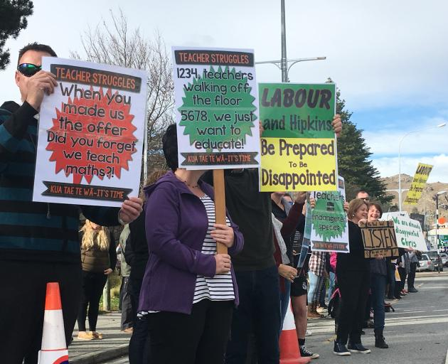 Alexandra teachers channel their frustrations towards Education Minister Chris Hipkins. Photo:...
