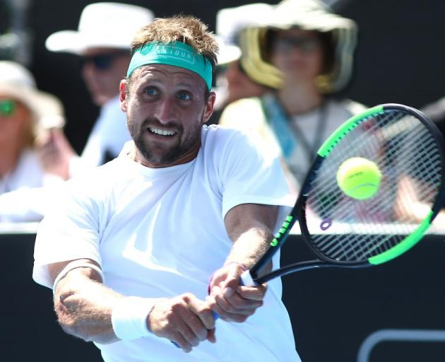 Tennys Sandgren plays a backhand at the ASB Classic final in Auckland. Photo: Getty Images