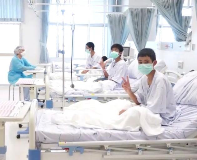 The boys were taken to a hospital in Chiang Rai where they are recovering from their ordeal....