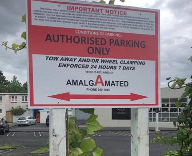 A recent sign placed inside the old New World where locals park. Photo: supplied via NZ Herald