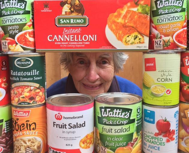 Mosgiel Community Food Bank volunteer Molly Vaughan (91) is encouraging people to give generously...