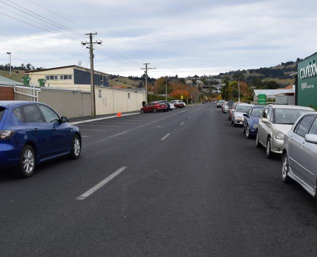 A road marking in the centre of Church St in Mosgiel is fading.