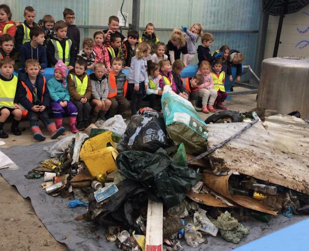 Outram School Room 2 and 3 children picked up a mountain of rubbish from the roadsides in their...