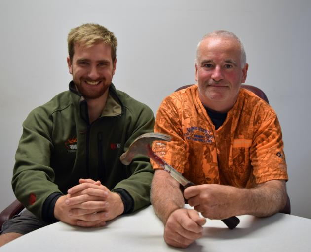 Taieri District Pig Hunting Club member Dave Gillies (left) and president Mike ''Buzz'' Burrell