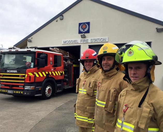 Mosgiel Volunteer Fire Brigade (from left)  Station Officer Ben Parker, Firefighter Stefan...