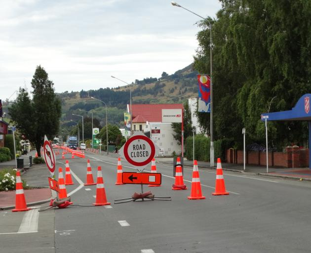 Detours remain in place on Saturday on Gordon Rd, Mosgiel, where major roadworks continue. Photo:...