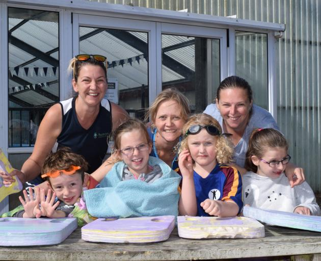 Participating in Outram School's Swimathon were (back from left) parents Emily Richards, of East...
