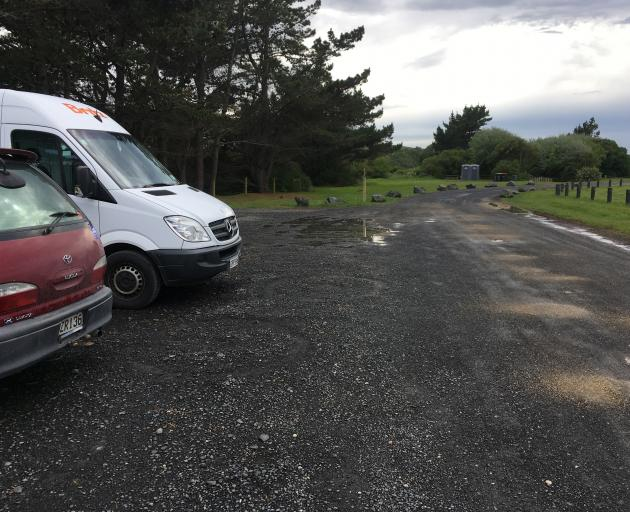 Freedom campers park in a permitted area in Brighton Domain. PHOTO: SHAWN MCAVINUE