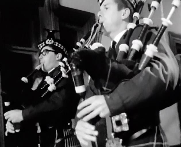 Bagpipe players at the ball in 1967. Photo: supplied