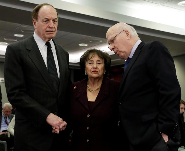 Senators Richard Shelby (left) and Patrick Leahy with House Appropriations Committee Chair Nita...