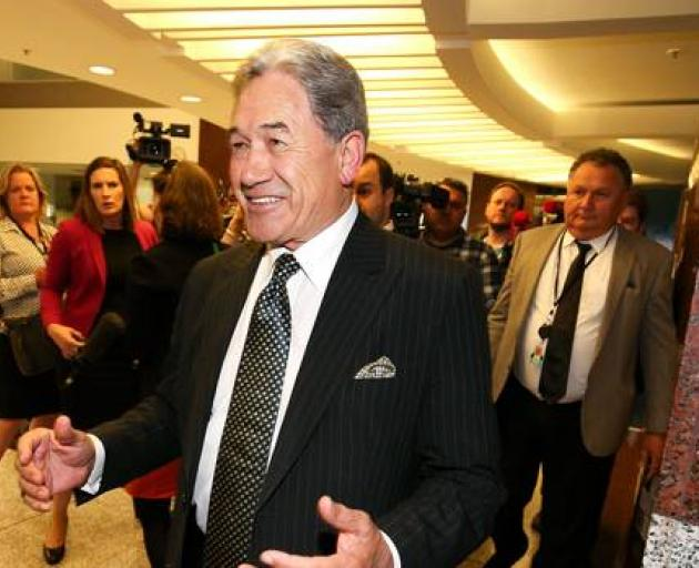 NZ First Winston Peters with Shane Jones at rear. Photo: NZ Herald