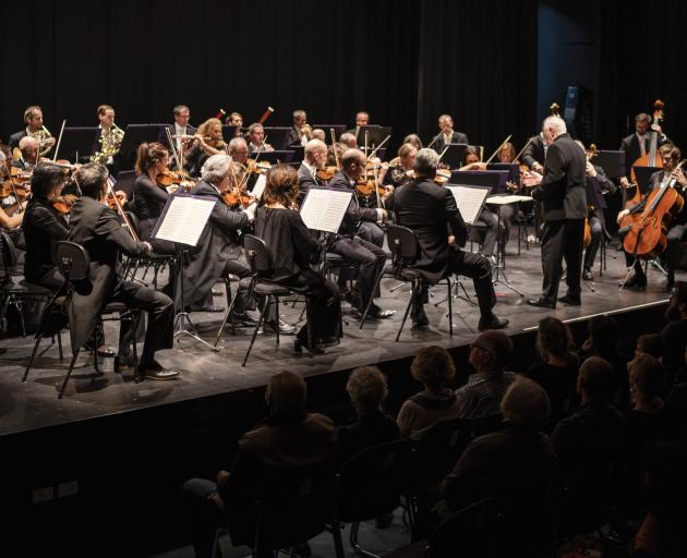 The NZSO crammed on stage presented a good-humoured, joyous performance. PHOTO: RAY TIDDY