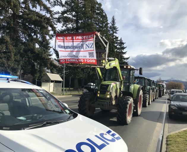 A convoy of tractors in Wanaka. Photo: Marjorie Cook