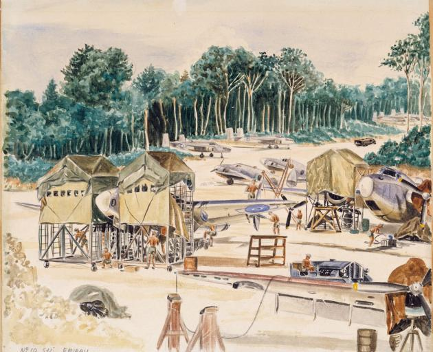 R. Maurice Conly's 1944 watercolour of a flying boats base in the islands. Photo: Archives NZ,...