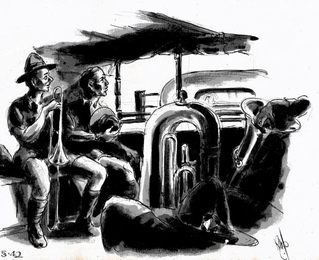 Band on the road, from one of Ralph Miller's sketchbooks. Photo: Miller Family Archives