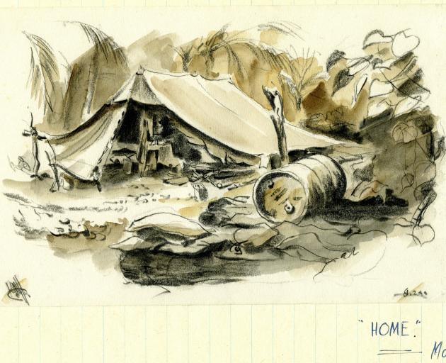 Ralph Miller's accommodation on Mono in the Solomon Islands. Photo: Miller Family Archives
