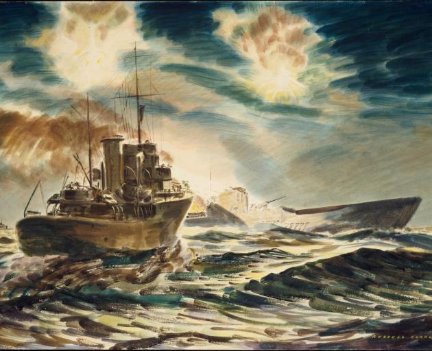 Russell Clark's ''Night action off Guadalcanal'' with HMS Kiwi and a submarine.  Photo: Archives...