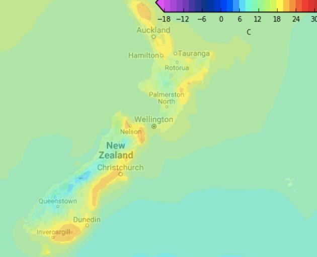 Temperature range for Sunday. Image: WeatherWatch