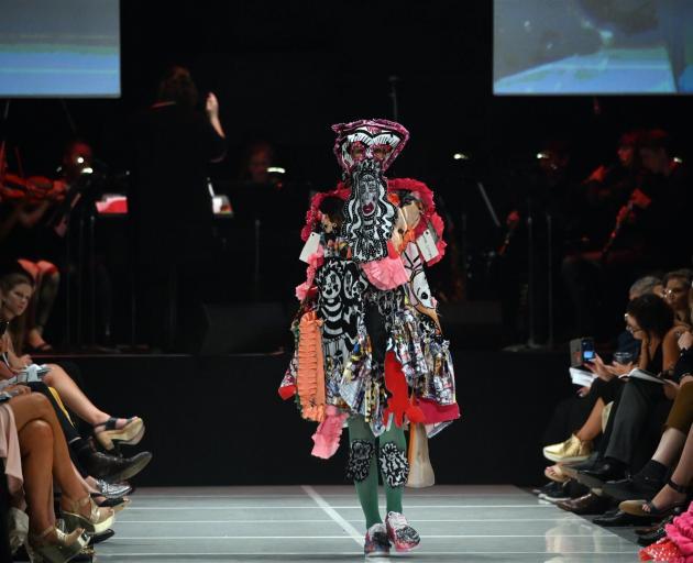 iD International Emerging Designer Award winner Rebecca Carrington's design on the catwalk at the...
