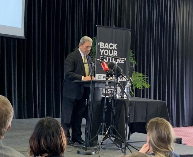 Winston Peters spoke at the Working Men's Club in Invercargill this afternoon. Photo: Abbey Palmer