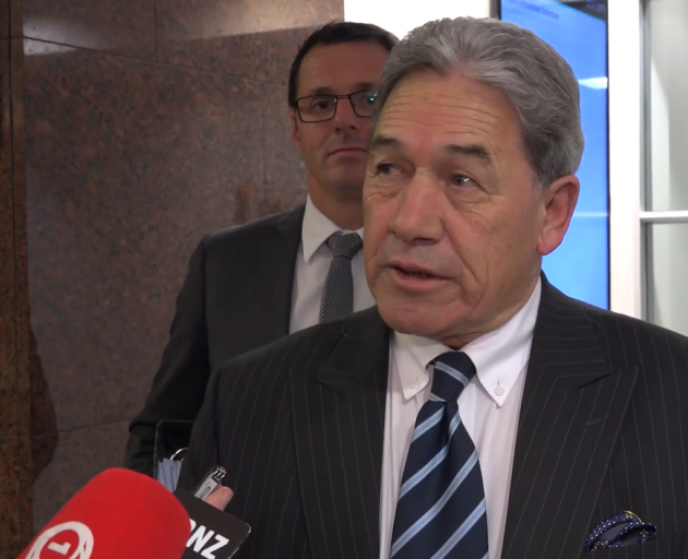 Winston Peters speaking to media on Wednesday. Photo: NZ Herald