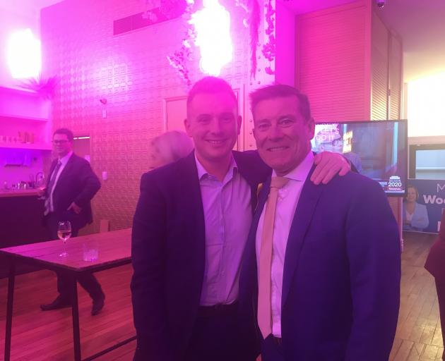 National candidate for Taieri Liam Kernaghan (left) and Dunedin's Michael Woodhouse at Deja Vu in...