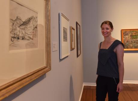 Dunedin Public Art Gallery curator Lucy Hammonds looks at some of the Frances Hodgkins works an appeal in the Otago Daily Times helped uncover. Photo: Peter McIntosh