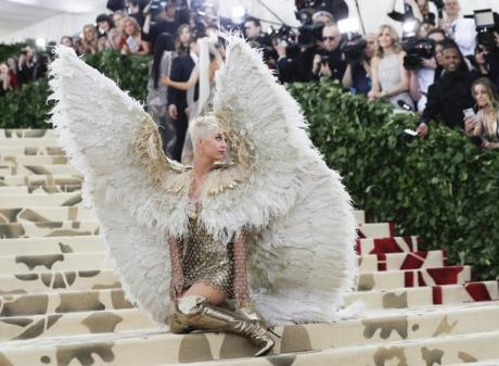 Pop star Katy Perry attended the Met Gala as an archangel. Photo: Reuters
