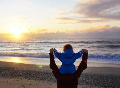 Sian and Lucy Elder watch the spectacular sunset on Haast Beach. PHOTOS: ELDER FAMILY PHOTOS