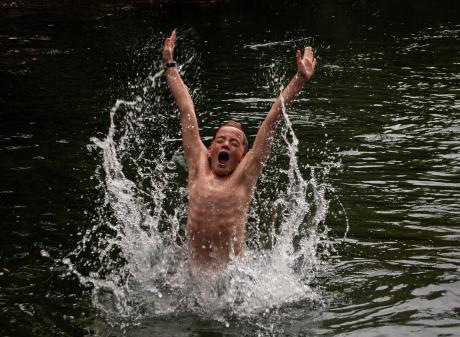 Timothy Niblock (11) goes for a swim in the swimming hole in Wanaka. PHOTO: SOPHIA NIBLOCK