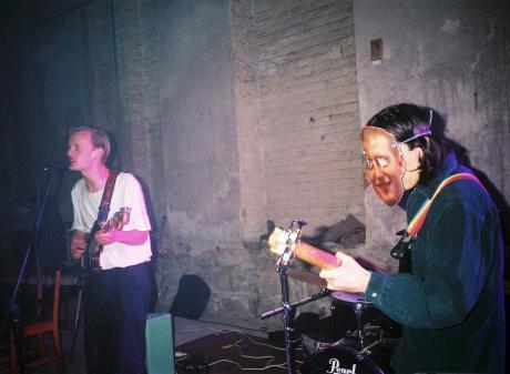 Hermann Doose (from left) Brad McDonald, Rassani Tolovaa (wearing a mask of guitarist Josh Hunter...