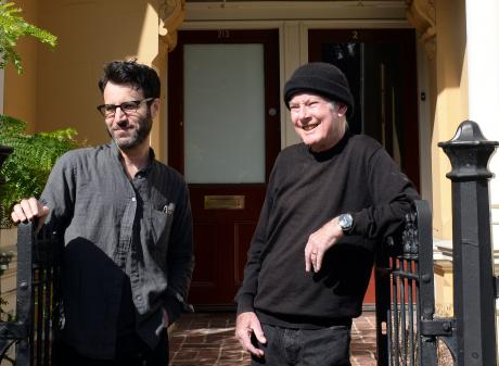 Roy Colbert (right) and Adam Samuel Goldman outside the former Records Records shop on Stuart St....
