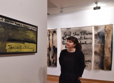 Hocken Library's new curator of art Andrea Bell looks at another Colin McCahon work in the ''Freefall'' exhibition at the Hocken. Photo: Peter McIntosh
